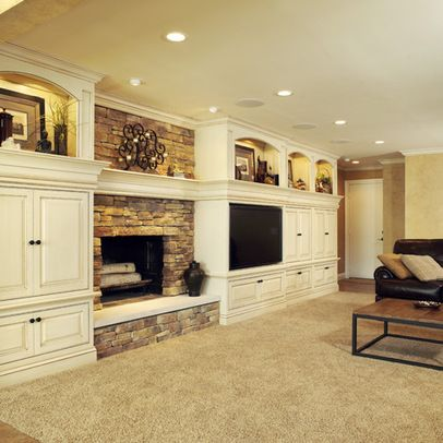 Luxury Basement Fireplace Designs