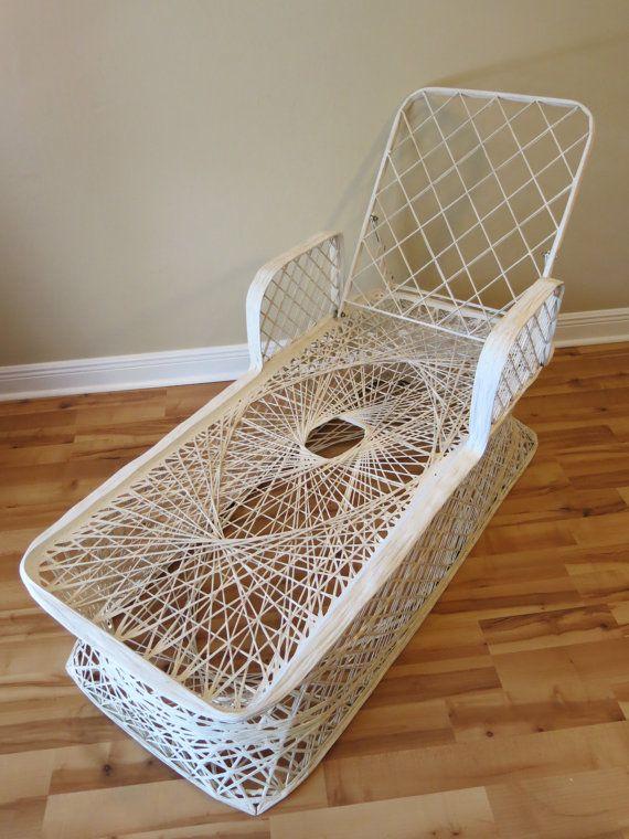 vintage mid century spun fiberglass patio lounge chair russel