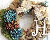 Chevron Burlap Wreath, Chevron Bows, Burlap Wreath With Monogram, Teal Hydrangeas, Brown Hydrangeas, Wood Monogram Letter by WoodAndBurlap on Etsy, $79.00 USD