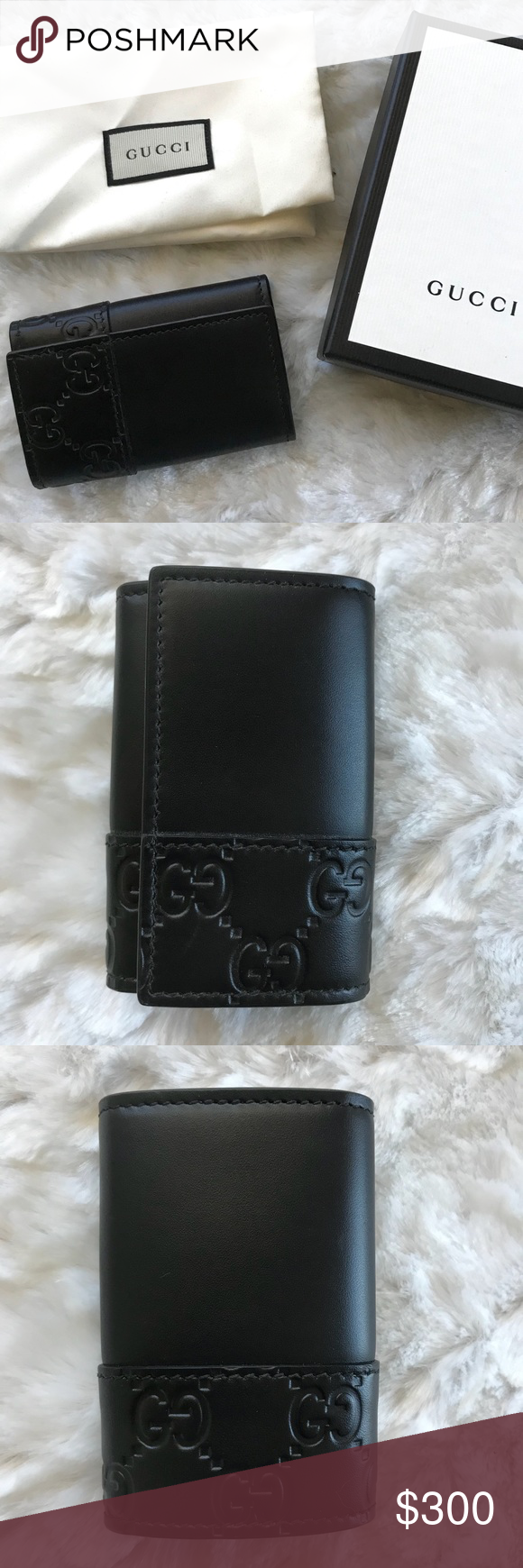 9391cfd1f18 NEW Gucci Key Holder Black Wallet Case Guccissima New with original box    dust bag Authentic