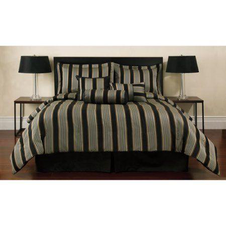 Walmart Bedroom Sets Custom Sheldon Stripe Jacquard Bedding Comforter Set Black  Comforter Design Ideas