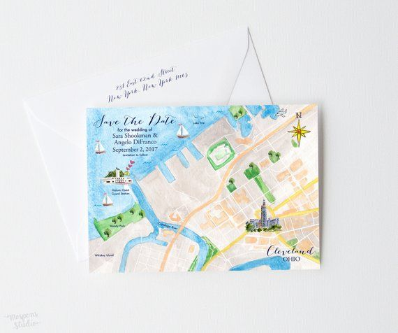 Custom Watercolor Wedding Map Cleveland Save The Date Cards