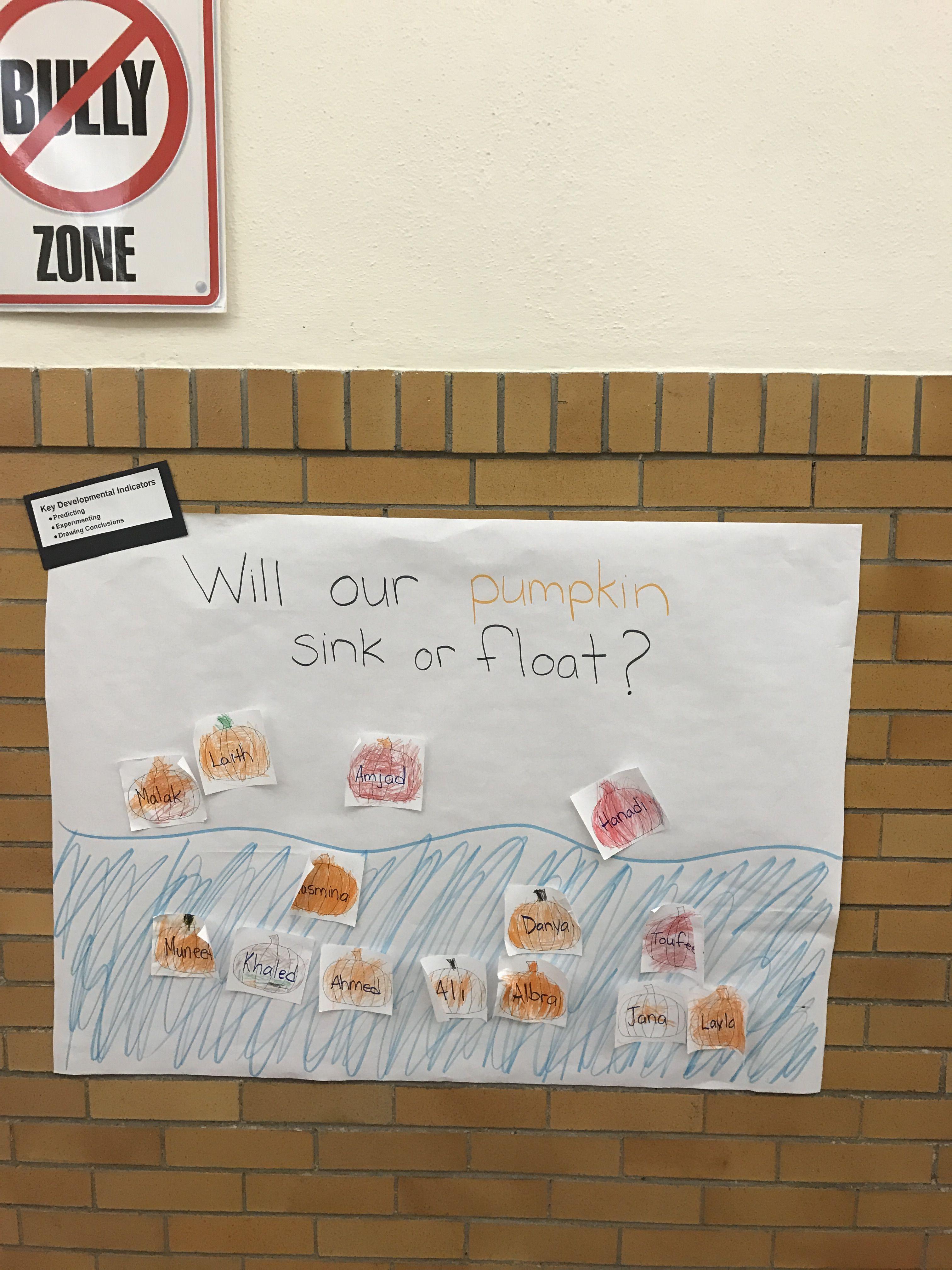 Will Our Pumpkin Sink Or Float Preschool Curriculum