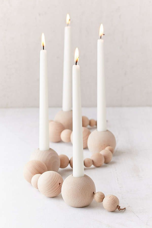 Ferm Living Wood Bead Taper Holder Diy Candle Stick Holder Diy Taper Candle Holders Candle Stick Decor