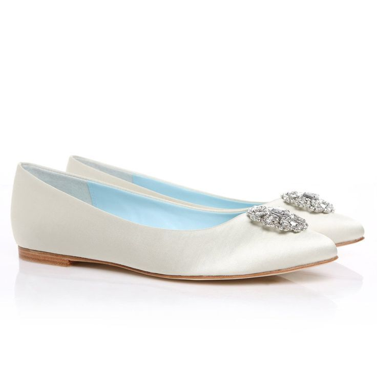 Crystal white wedding flats bridal wedding shoes blue