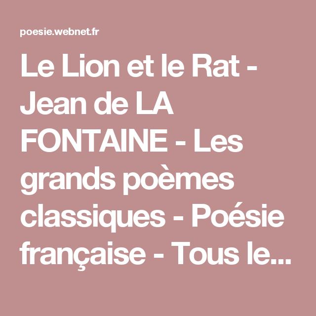 Le Lion Et Le Rat Jean De La Fontaine Les Grands Poèmes
