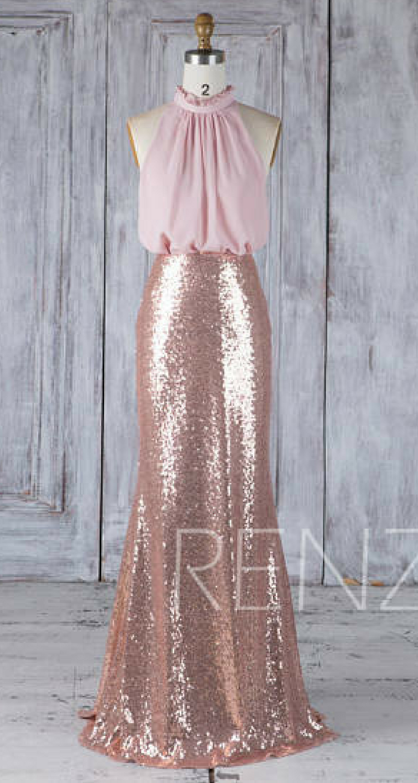 Bridesmaid dress rose gold sequin blush chiffon wedding dressruched