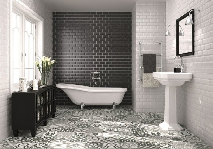 Beautiful Bathroom tile black white wall tiles accent wall floral Simple Elegant - Latest Black White Grey Bathroom New