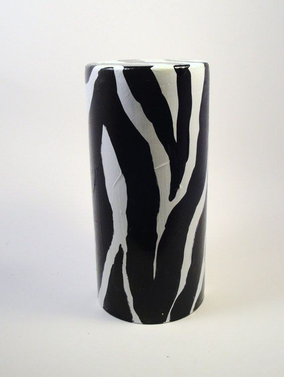 Hand Painted Vase Zebra Print Cylinder By Hhmholidays On Etsy