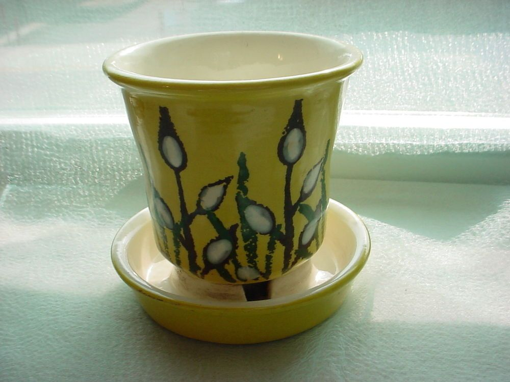 Vtg Pussy Willow Planter Pot Yellow 4 inch Ceramic Pottery by Treasure Craft Seller florasgarden on ebay