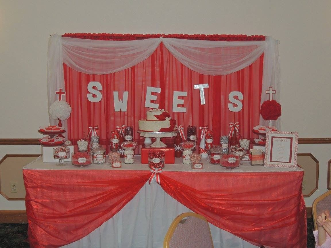 Red White Candy Buffet Table For My Son S Confirmation Buffet Table Decor Table Decorations Candy Table Decorations