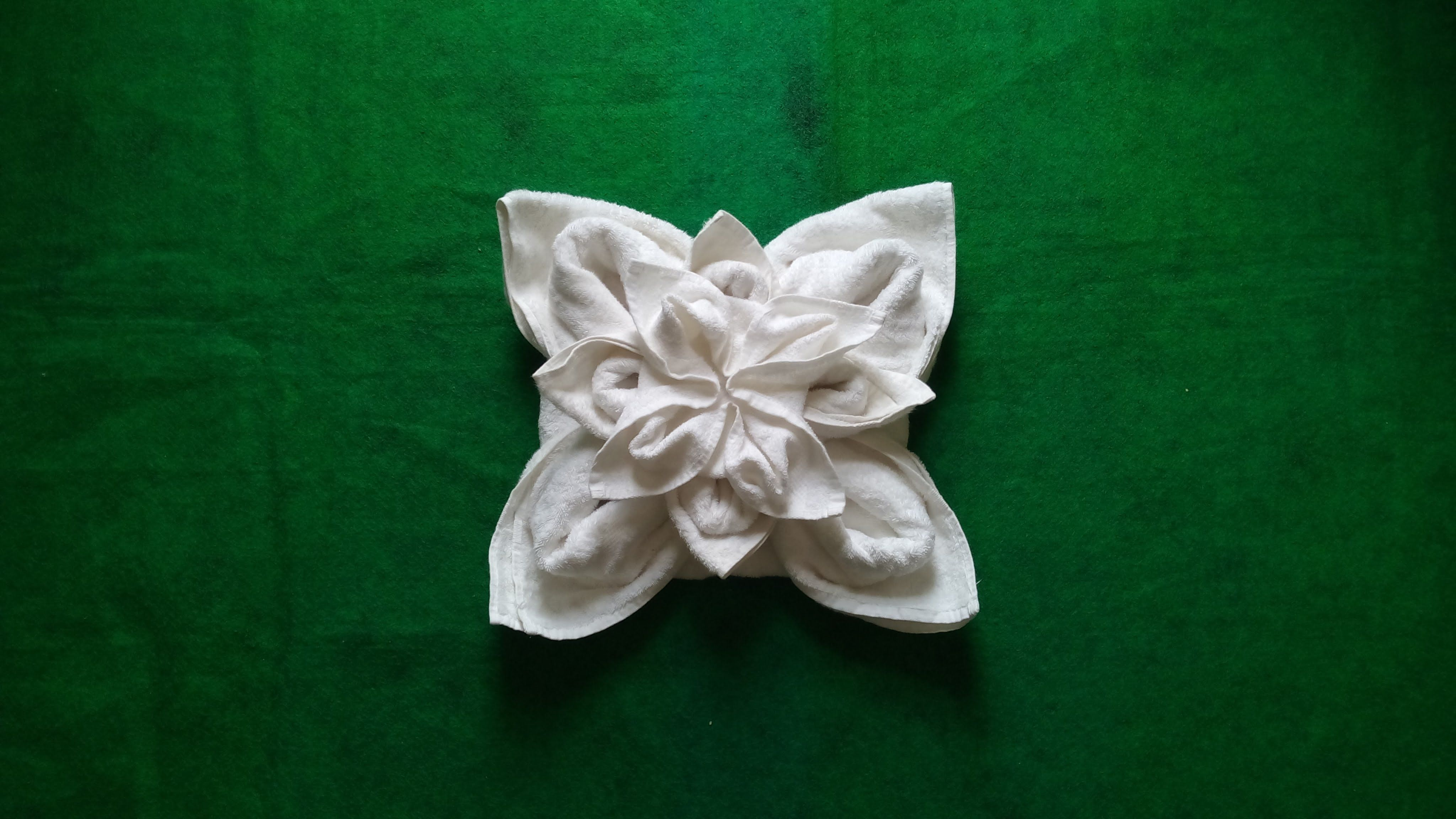 Lotus Flower Towel Origami Using One Large , One Medium