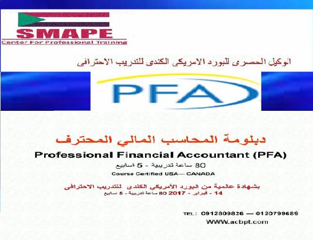دبلومة المحاسب المالى المحترف Pfa من البورد الامريكى الكندى للتدريب الاحترافى Accounting Financial Job