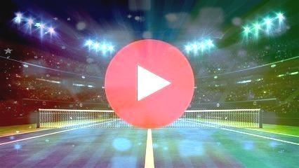 tennis court and illuminated indoor arena with fans player front view professional tennis sport 3d illustration background Blue tennis court and illuminated indoor arena...