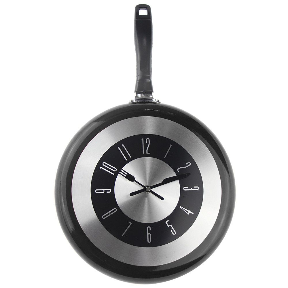 12 Inch Black Metal Frying Pan Hanging Wall Clock With Knife And Fork Hands Wall Clock Modern Best Wall Clocks Metal Clock