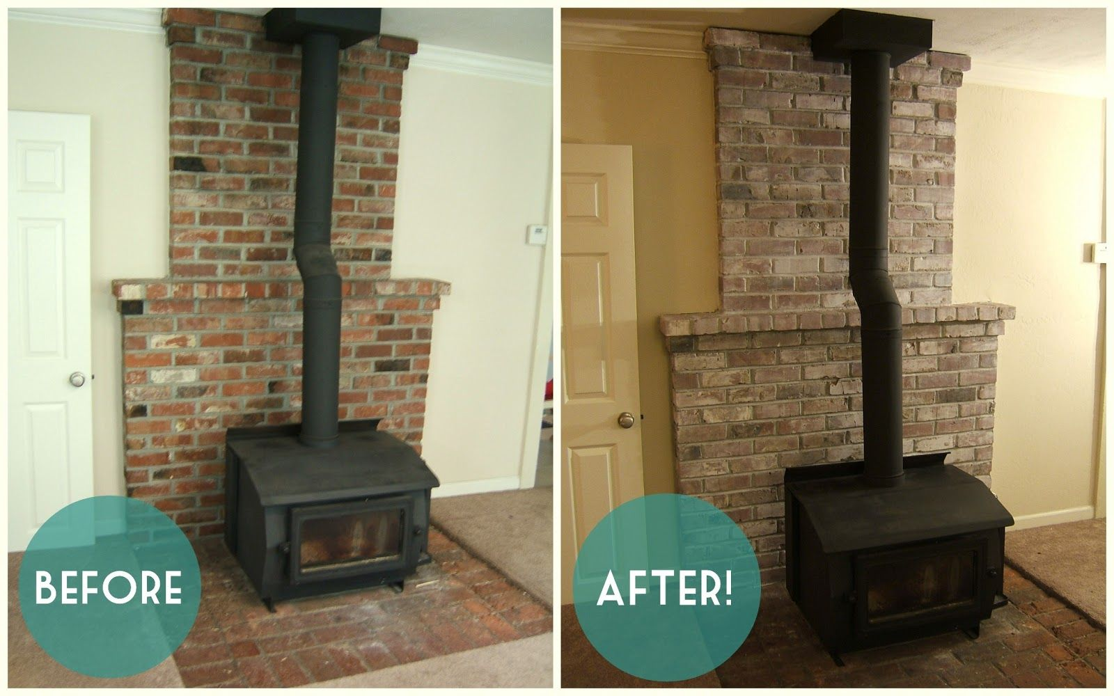 Before and after white washed brick In The Den Pinterest White