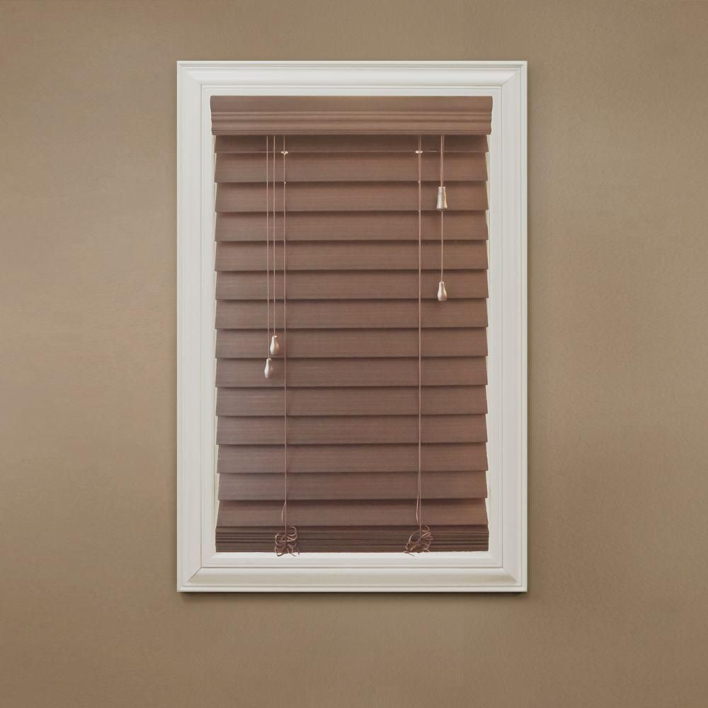 Home Decorators Collection Maple 2 1 2 In Premium Faux Wood Blind 39 5 In W X 64 In L Actual Size 39 In W X 64 In L 10793478073511 The Home Depot