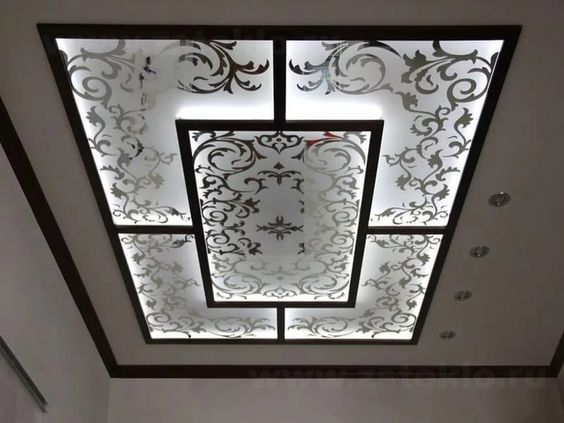 Stained Glass Panels With Printed Decorations And Ceiling
