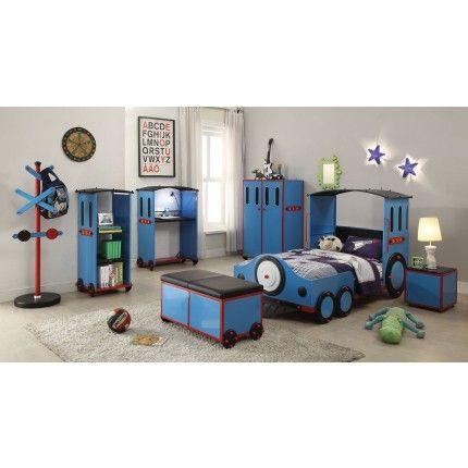 Acme 37560-S4 Tobi 4 Pcs Blue Red and Black Train Twin Bedroom Set ...