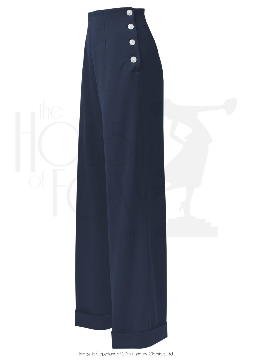 6e69f8d93c1f 1940s High Waisted Swing Wide Leg Trousers in Navy Byxor Outfit, Retro  Mode, T