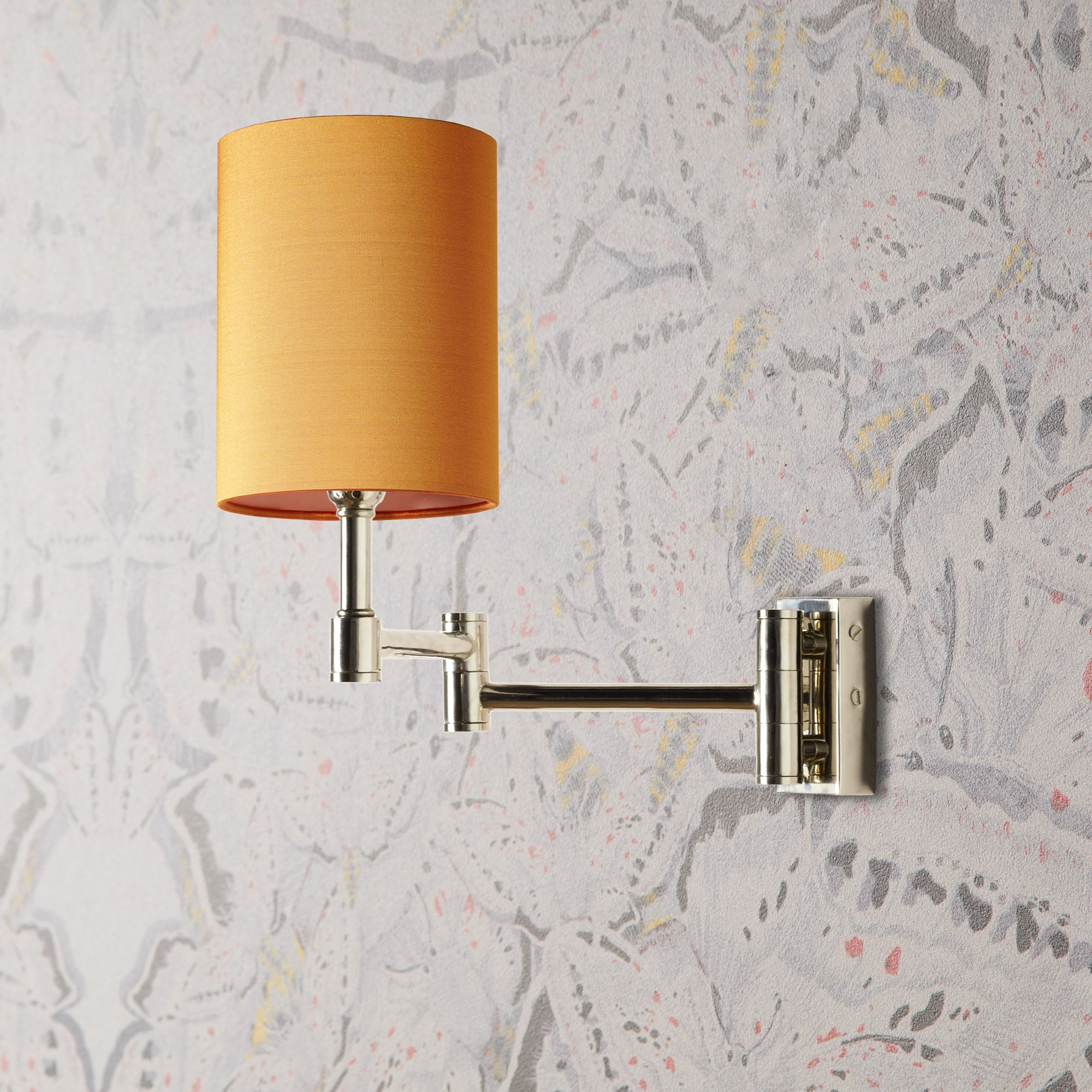 Cagney Wall Fitting In A Chrome Finish With 11cm Drum Shade In Saffron Dupion Silk In 2020 Wall Light Fittings Wall Lights Pooky Lighting