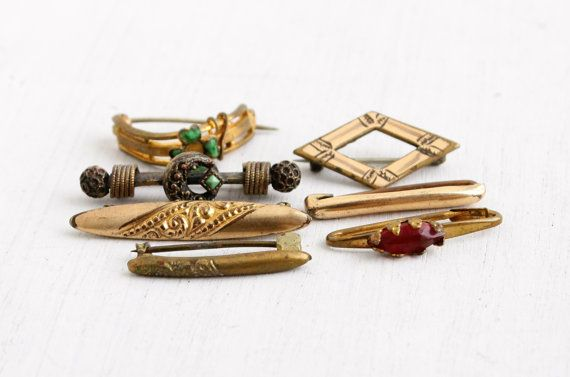 11d30eda3 Lot of 7 Antique Victorian Bar Pins - Edwardian Gold Filled Small Lingerie  Brooch Jewelry Pins