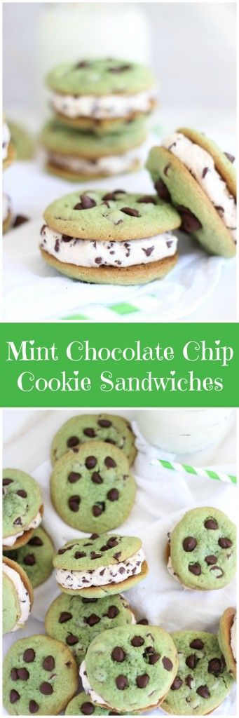 Soft and chewy mint chocolate chip cookie sandwiches with chocolate chip cream cheese buttercream!