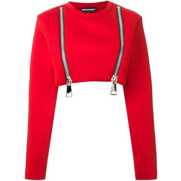 Nicopanda oversized zip cropped sweatshirt (¥36,685) ❤ liked on Polyvore featuring tops, hoodies, sweatshirts, cropped, sweaters, red, shirts, crop shirt, zip shirt and zip crop top