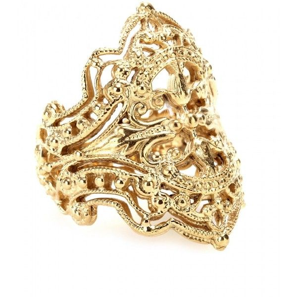 IAM by Ileana Makri Chantilly Yellow Gold-Plated Ring ($304) ❤ liked on Polyvore