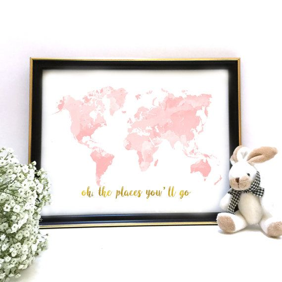 Nursery world map rose gold map nursery decor pink gold world map blush and gold nursery decor pink and gold world map pif pay it forward gumiabroncs Images