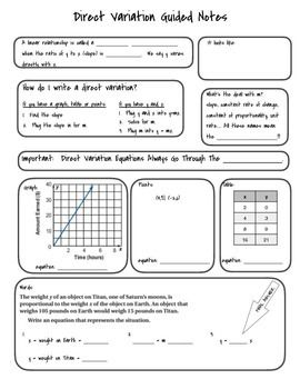 Direct Variation Guided Notes Guided Notes Direct Variation