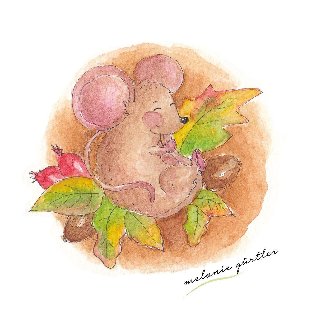 Maus Herbst Illustration Niedlich Kinderbuch Aquarell Tiere