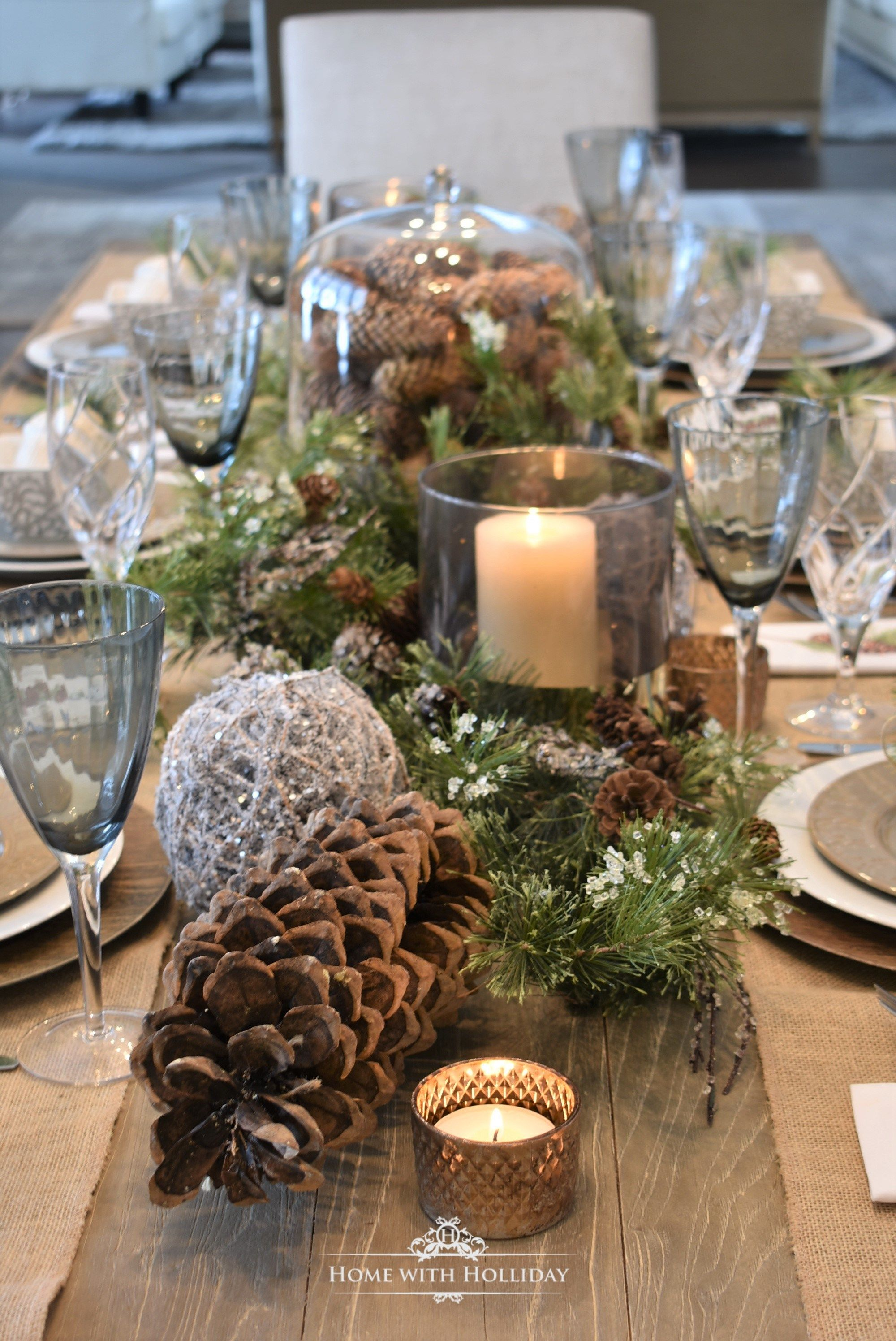 Simple Woodland And Pine Cone Christmas Table Setting Christmas Table Centerpieces Christmas Table Settings Rustic Christmas Table Decorations