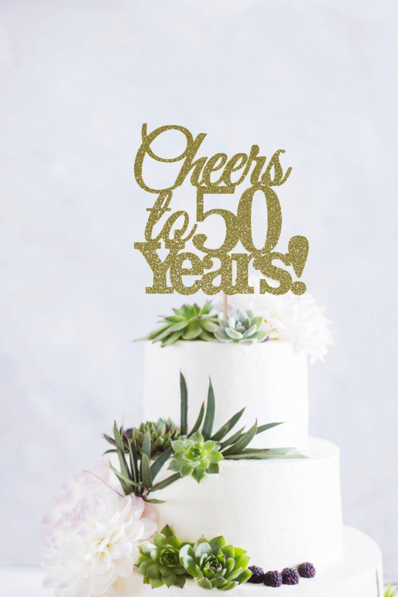 Awe Inspiring Cheers To 50 Years Cake Topper 50Th Birthday Cake Topper Happy Personalised Birthday Cards Veneteletsinfo