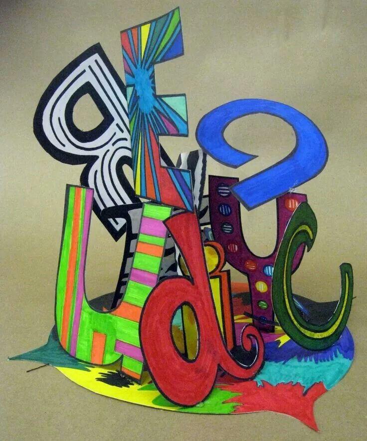 Name sculpture | Friday art class intermediate elementary ...