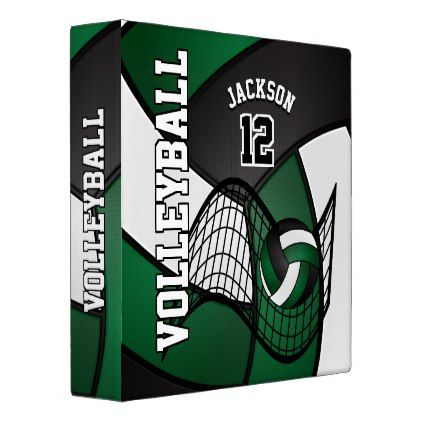 Volleyball In Dark Green Black And White 3 Ring Binder Zazzle Com Black And White Binder Diy Scrapbook Gift