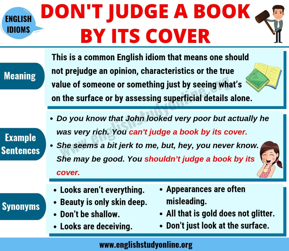 Don T Judge A Book By Its Cover Meaning Useful Examples Synonyms English Study Online Idioms And Phrases Cover Meaning English Study