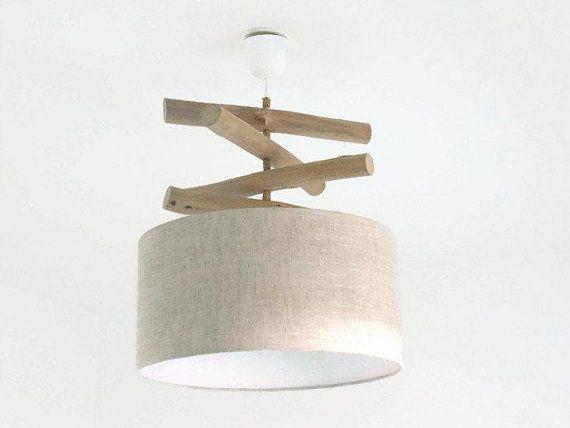 Lustre bois flotté Lin abat jour cylindrique 40 cm suspension