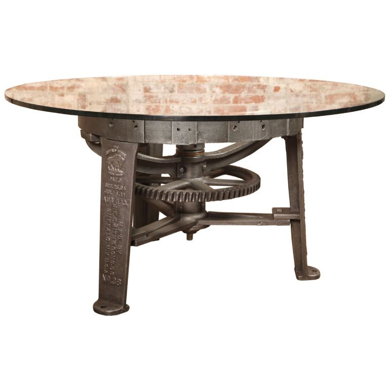 Superb Vintage Industrial Center Gear Round Table Base