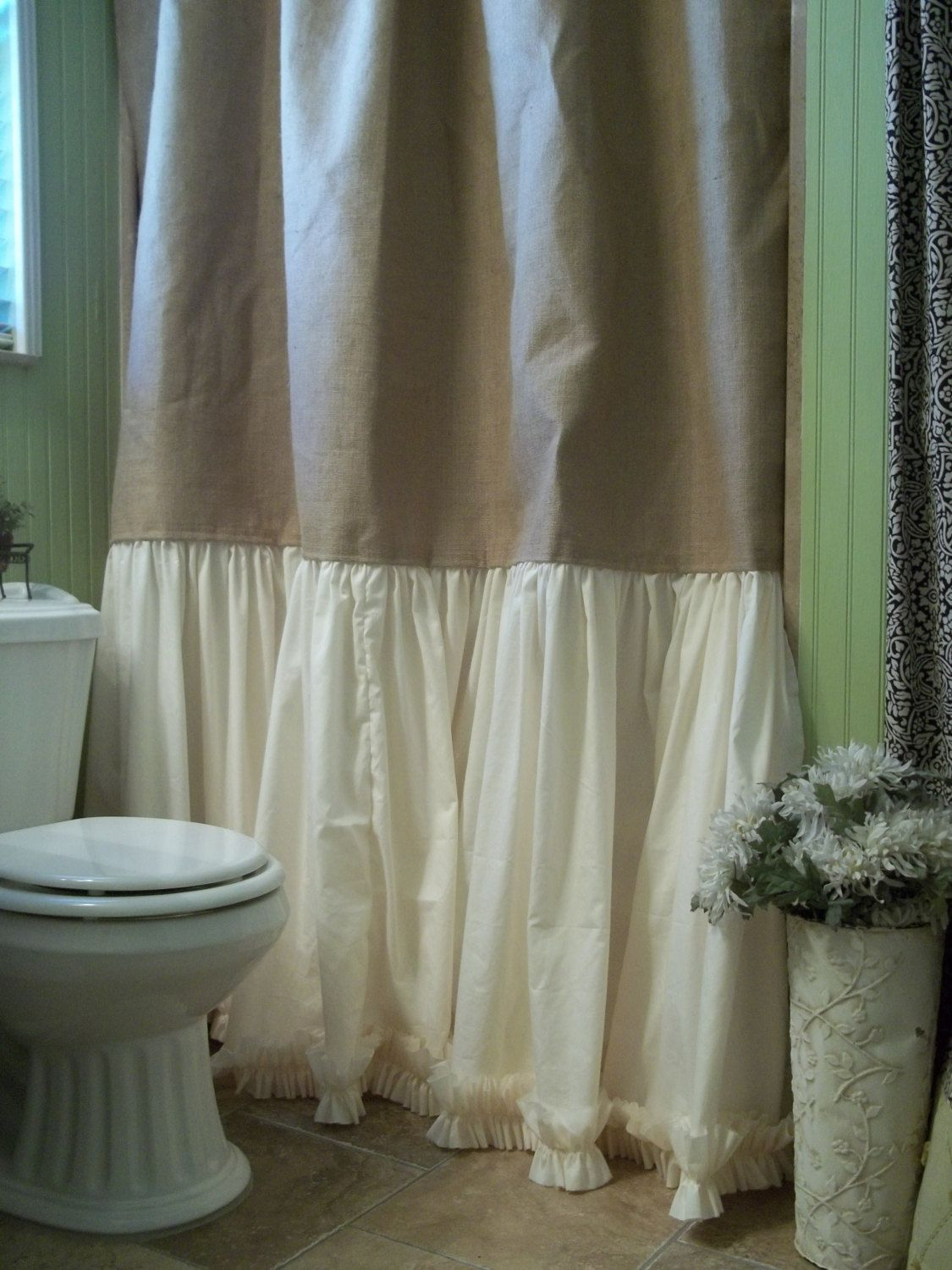 burlap shower curtain shabby chic burlap cotton gathered barn