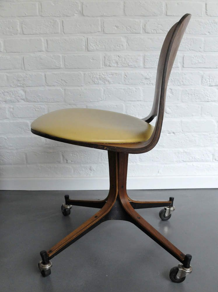 Latest Mid Century Plywood Desk Chair on wheels George Mulhauser for Plycraft span Top Search - Elegant rolling office chair In 2019