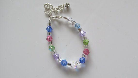 Infants Swarovski Bracelet Baptism Bracelet by CASSELIZADESIGNS