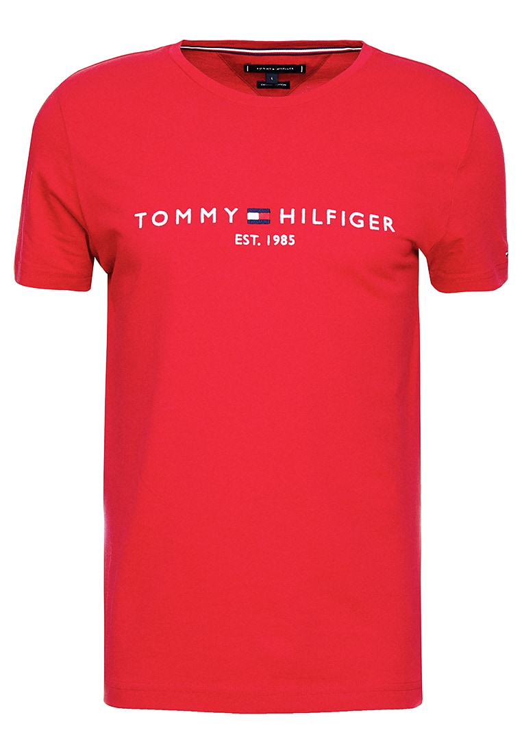Tommy Hilfiger Logo Tee T Shirt Print Red Zalando Nl Camisas Tommy Hilfiger Camisetas Camisas
