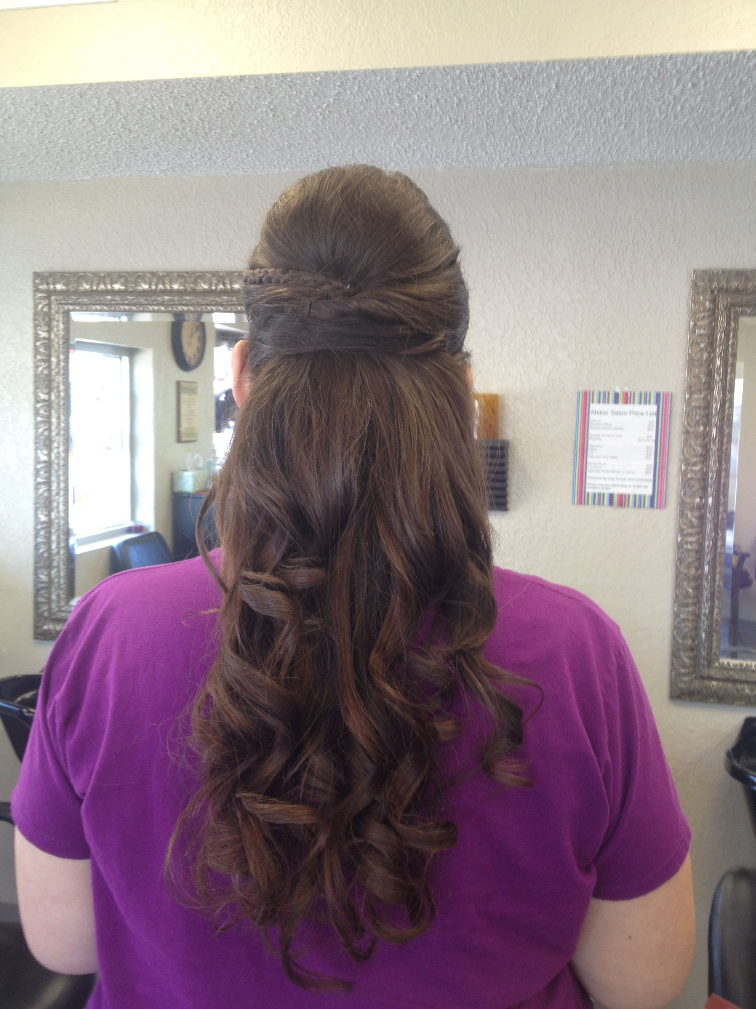 Wedding hair Half up half down with curls and a braid lots of beads