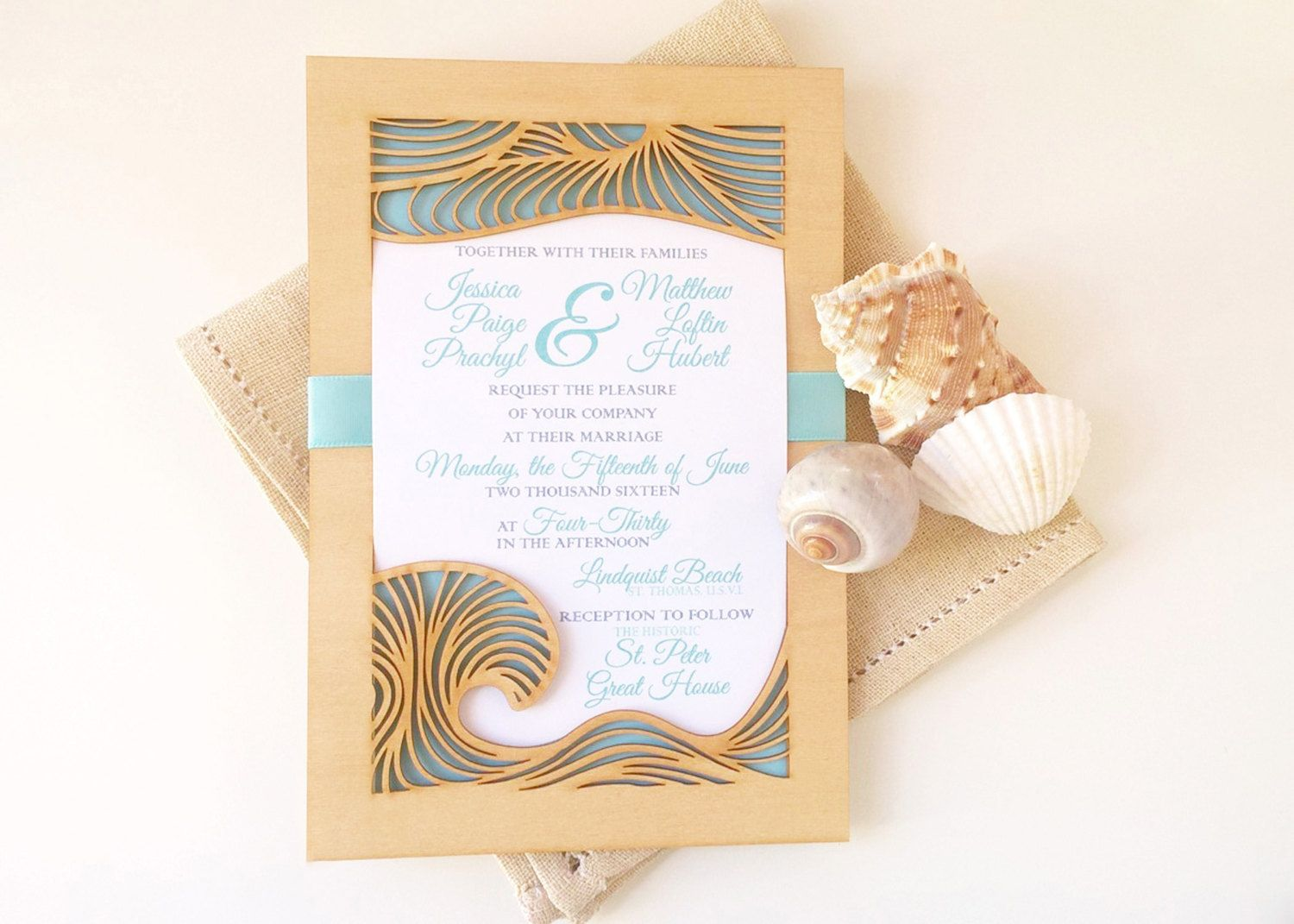 Beach Wedding Invitation And Response Card Made From Laser Cut Wood