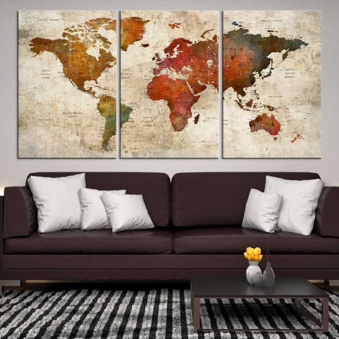 Wall Art Push Pin World Map Canvas Print Extra