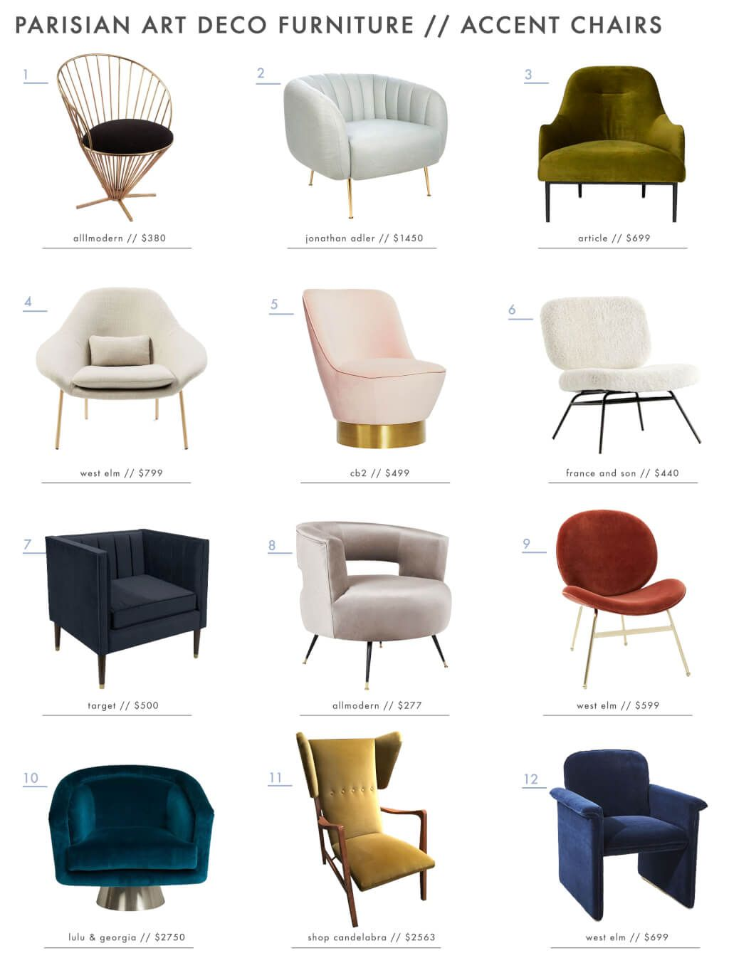 Emily Henderson Parisian Art Deco Furniture Chairs Roundup