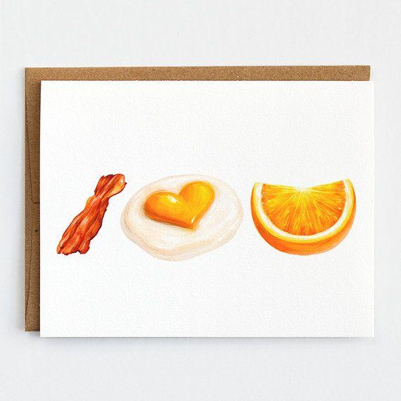 breakfast valentines day card food lover by mudsplashstudios