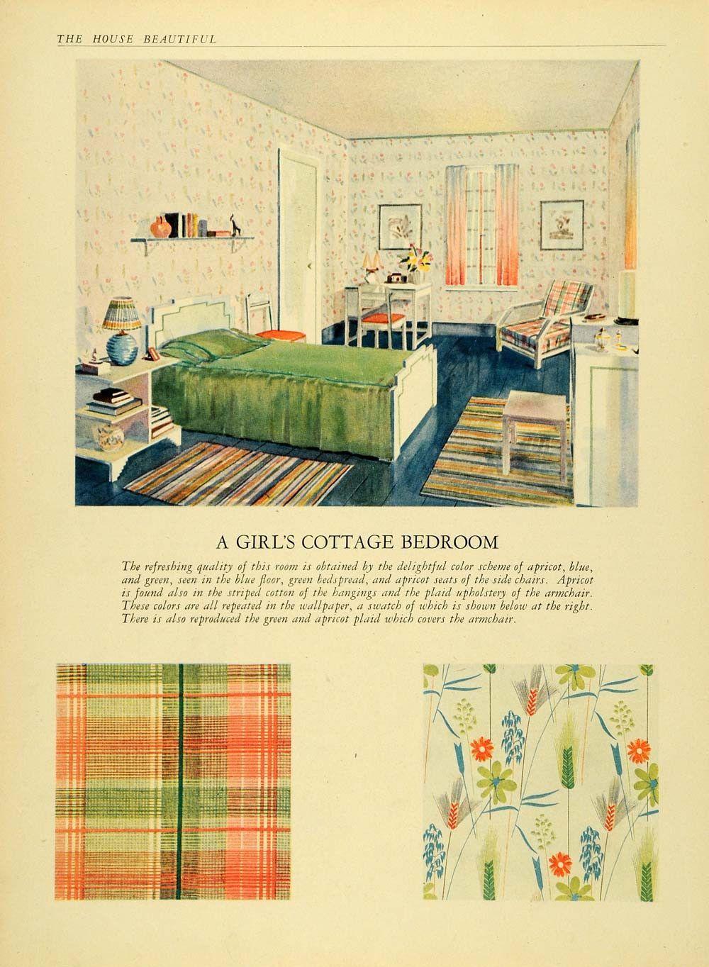 Best 1930 Print Cottage Bedroom Plaid Wallpaper Curtain 640 x 480