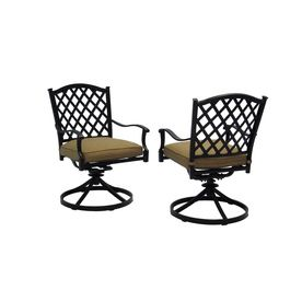 Allen Roth Set Of 2 Shadybrook Aluminum Swivel Rocker Patio Dining Chairs  With Solid Tan
